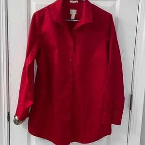 Chico's Red button front shirt 1/ med/8